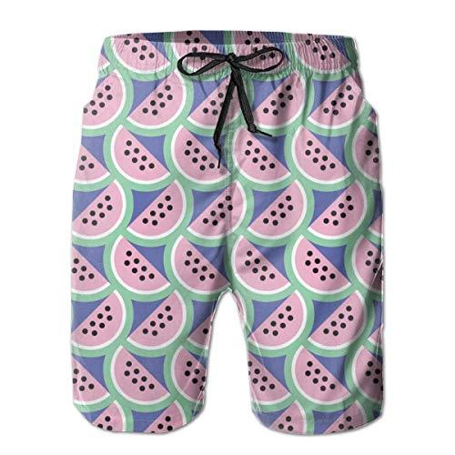 Ye Hua Picknick (Schatten) Wassermelone Obst 80er Jahre Pastell geometrische Skalen Sommer Essen Seeds_323Herren Summer Beach Shorts, L