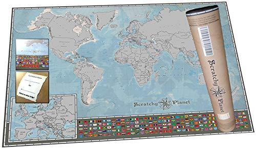 Scratchy Planet mapamundi para rascar en Formato Mini, mapamundi de rascar, mapamundi pequeño para...