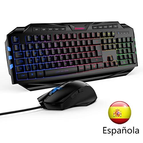 Excelvan Wired Combo Teclado Gaming Mouse Retroiluminados