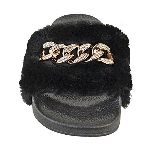 Claquettes - chaîne décorative à diamants - caoutchouc - femme Fausse fourrure noire/chaîne dorée