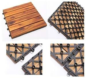 holz fliesen akazienholz 3x4er set balkonfliesen 12 platten gerade garten. Black Bedroom Furniture Sets. Home Design Ideas