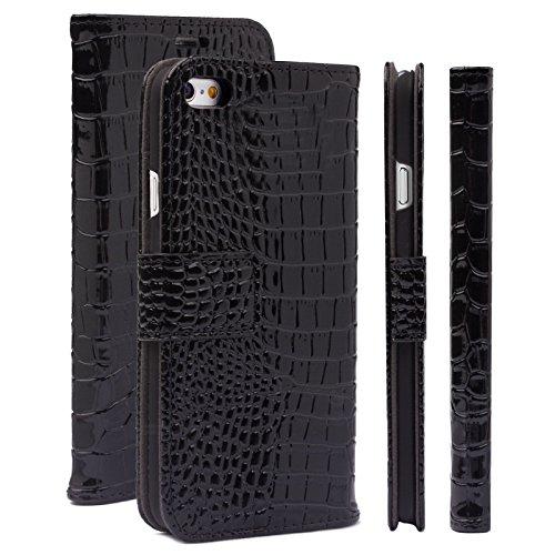 iCues Apple iPhone 6/6S + Plus (5.5 Zoll) Maraba Tasche Caiman Schwarz | Premium Kartenfach Standfunktion Stand Leder Book Schutz Etui Handytasche zum aufklappen Flip Case Schutzhülle Booklet Hülle