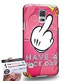 Case88 [Samsung Galaxy S5] 3D Hülle / Schutzhülle & Garantiekarte - middle finger theme have a nice day DSE0304