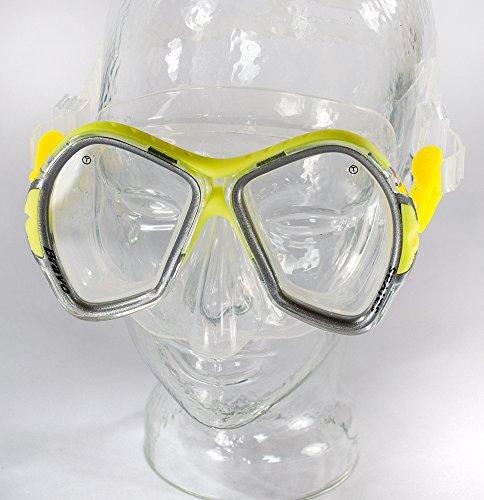 SALVAS Profi Tauchmaske BRAVO, Tempered Sicherheitsglas, verstellbares Maskenband. Taucherbrille, Tauchermaske, Tauchen, Schnorcheln (Gelb)