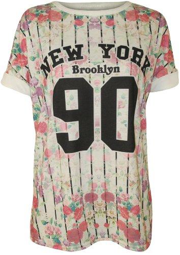 Mit einem modischen varsity-Stil 'New York Brooklyn 90' Druck und Blumen und Steifen Muster, ist diese Baseball Top perfekt, um eine im Trend casual Look zu erstellen.