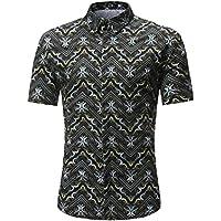 Zarupeng Herren Shirt, Casual Slim Freizeitshirt Sommer Kurzarm Stehkragen Hemd Vintage Printed T-Shirt Top