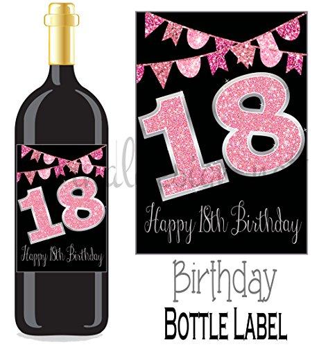 Eternal Design Flaschenetikett zum 18. Geburtstag Wein Geschenk..... Pink Glitter