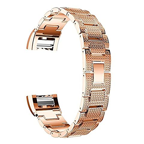 High-End-Superior-Gold-Metall-Uhrenarmband-Bügel für Fitbit Charge 2 Armband Strass Edelstahl