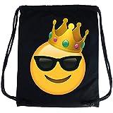PREMYO Zainetto cotone nero stampa Emoji King Smiley Faccina Con Occhiali Da Sole. Zaino a sacca con disegno Emoticon Sacca da ginnastica di qualità con chiusura a cordoni Sacca sportiva Borsa Gym-Bag