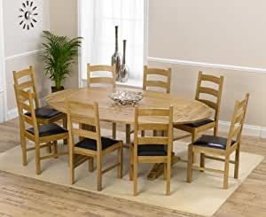 lincoln solid oak oval extending dining table and 8 valencia chairs set kitchen. Black Bedroom Furniture Sets. Home Design Ideas