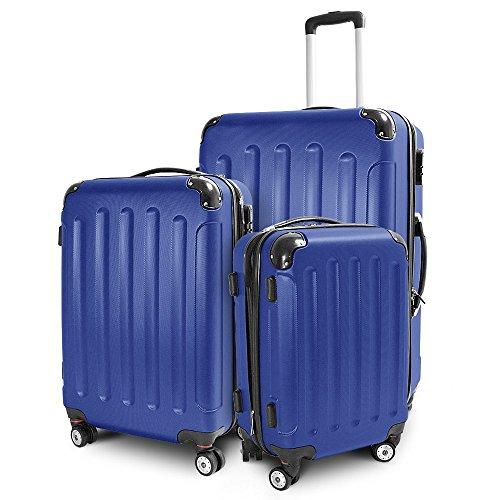 BERWIN Kofferset 3-teilig Reisekoffer Trolley Hartschalenkoffer ABS Teleskopgriff (Navy Blau)