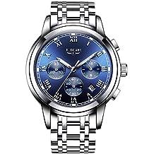 Hombre Luxus Business Reloj de pulsera impermeable relojes con cronógrafo calendario analógico de cuarzo reloj con