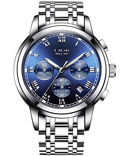 Analog Quarz Wasserdichte mit Edelstahl Armband Chronograph 9810 ()