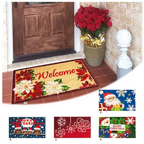 ARREDIAMOINSIEME-nelweb Zerbino Cocco Natalizio 40x70 Retro Antiscivolo Tappeto Natale Ingresso Esterno MOD.Natale Rettangolare (E)