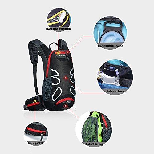 Fahrradrucksack mit Regenschutz, 15L Trinkrucksack Stylisch Wasserdicht Rucksäcke für Radsport Radfahren Running Laufen Jogging Rot
