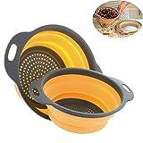 2 Pezzi Pieghevole del silicone Colander/Strainer Pieghevole Cucina Frutta Verdure Basket, include 2 formati 8 e 9,5 pollici (Arancione)