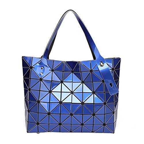 Frauen Falten Geometrische Schultertasche Art Und Weise Beiläufige Handtasche Blue