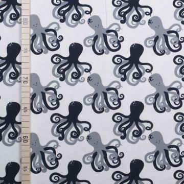 StoffHandwerker Happy Octopus - Weiss - Jersey