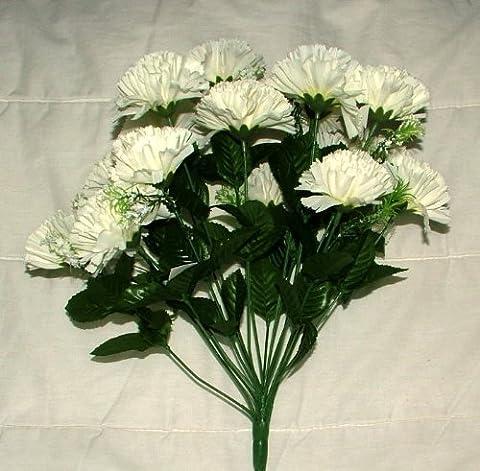 18 head IVORY carnation artificial flower bush wedding/grave/vase