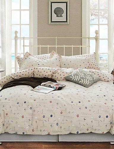 LIANGTT Vier Sätze Bettwäsche,einfache Opulenz Karikatur 100% Cotton gedruckte Schiff König Königin Bettbezug mit 1 Spannbetttuch und 2 Kissenbezüge eingestellt, Queen -