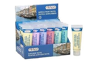 Set 6 Tubes de Peinture ACRYLIQUE Pastel 6 Couleurs 6x75ml Neuf