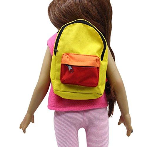 2018Neueste dikewang Fashion Casual Doppel-Reißverschluss Riemen Rucksack Schultasche für 45,7cm Unsere Generation American Girl Puppe, helfen Kindern lernen Kinder zu tragen Kleidung, gelb, Einheitsgröße (American Doll Gymnastik-outfit)