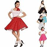 Petticoat Rock mit Halstuch 60er Jahre Rockabilly rot-schwarz Tellerock mit Polka Dots gepunktetes Swing Outfit Rock'n'Roll Party Mottoparty Kostüm