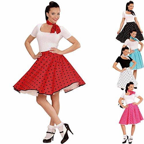 Petticoat Rock mit Halstuch 60er Jahre Rockabilly rot-schwarz Tellerock mit Polka Dots gepunktetes Swing Outfit Rock'n'Roll Party Mottoparty (N Party Roll Rock Kostüme)