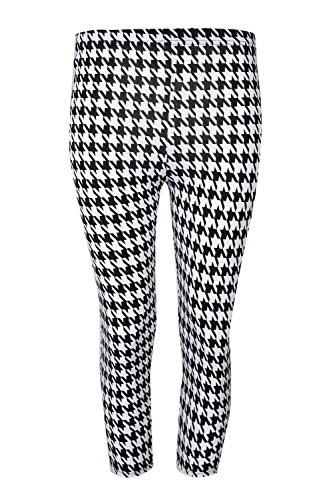 Be Jealous femme imprimé 3/4 leggings longueur femmes extensibles taille PANTALON SKINNY TAILLE 8-22 Dent de chien noir blanc