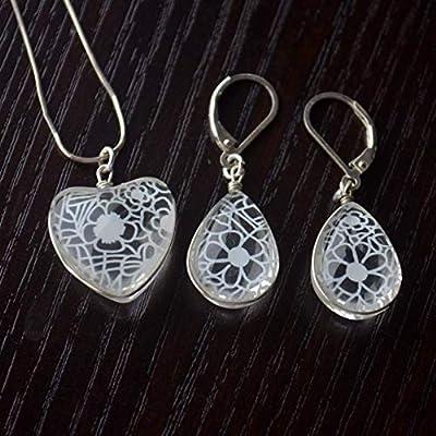 Orchidée blanc Dentelle Fleur Demoiselle d'honneur Mariage Cœur Amour 925 Sterling Argent Ensembles de bijoux Collier Des boucles d'oreilles