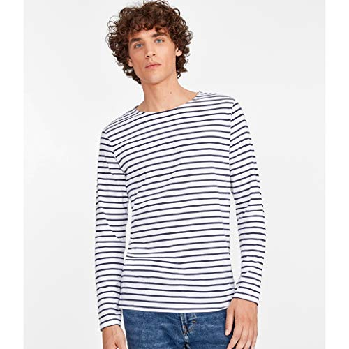 SOLS Herren Marine T-Shirt, gestreift, langärmlig (L) (Weiß/Marineblau) - Striped V-neck-shirt