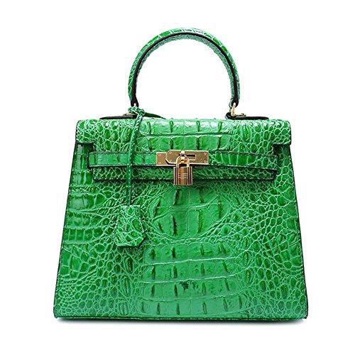 Sheli Grün Damen Echtleder Vorhängeschloss Tasche mit Schultergurt Cross Body Handtaschen Geldbörsen 25cm (Designer Geldbörse Inspirierte-tasche)
