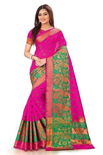 Royal Export Women's Cotton Silk Saree (Rani Pink)