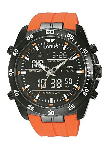 Lorus Mens Large Chronograph with Orange Rubber Strap RW625AX9