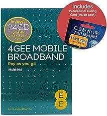 EE 4G 24GB UK PAYG Trio Data SIM - Mobile Broadband -24GB + FREE International Calling Card - (RETAIL PACK)