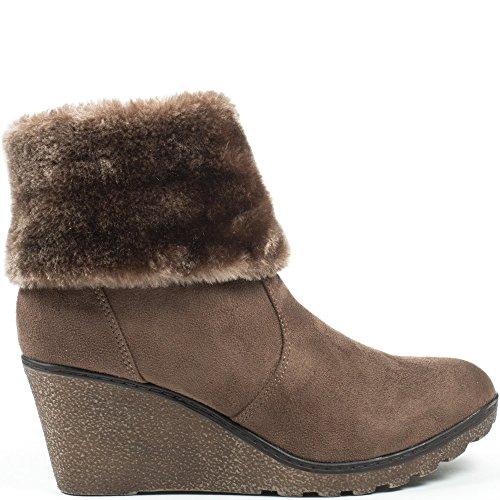 Ideal Shoes, Damen Stiefel & Stiefeletten Taupe