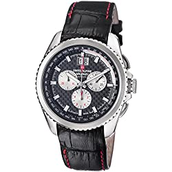 Swiss Alpine Military Thunder 1621.9537 SAM 43mm Stainless Steel Case Black Calfskin Anti-Reflective Sapphire Men's Watch