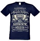 T-Shirt Geschenk zum 34. Geburtstag Special Edition 1984 Bruder Sohn Freund Papa Opa Farbe: Navy-blau Gr: L