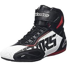 Alpinestars Faster 2Vented - Zapatos de moto para hombre, microfibra–Negro y rojo
