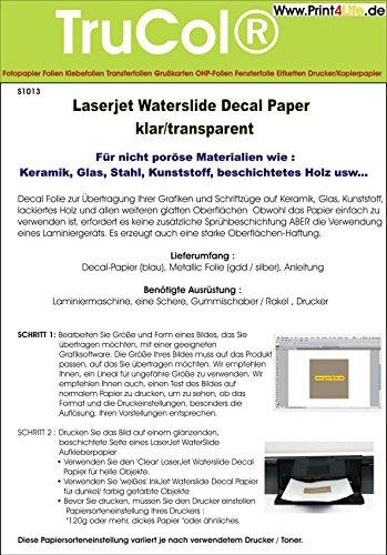 efolie Decal Papier Transfer Folie DIN A4 transparent für Laserdrucker Kopierer klare Folie wasserabschiebefolie Transferfolie Transferpapier ()