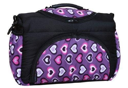 TP-25 Borsa Fasciatoio PIA di Baby-Joy XXXL extra grande nero lilla cuori borsa fasciatoio borsa pan
