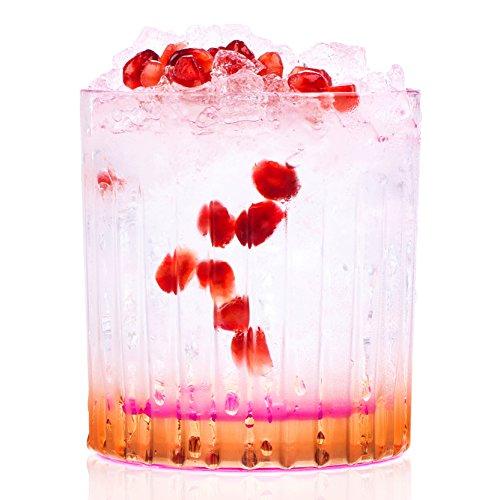 RCR 26322020006 Gipsy Crystal Short Whisky Water Tumblers Glasses, 360 ml, Set of 6, Orange Crystal Water Tumbler