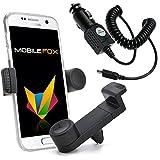 mobilefox®® KFZ Handy Lüftungshalterung 360° Verstellbar inkl. Micro-USB Ladekabel Set für Samsung Galaxy S7/S6/S5/S4/Neo/Mini/Edge/Plus Schwarz