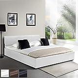 MIADOMODO Kunstlederbett 160x200cm | in Weiss | mit integriertem Lattenrost und Bettkasten | Polsterbett, Doppelbett, Bettgestell, Bettrahmen