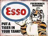 Esso Put a Tigre in vostro carro armato, Benzina Olio Classico Officina Metallo/Targa Da Parete in Acciaio - 15 x 20 cm