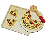 Unbekannt 9 tlg. Schneide - PIZZA mit Pizzaschneider - und Tablett HOLZ Spiel Küche Zubehör - Kinderküche Kaufmannsladen Holzpizza - zum Schneiden - Restaurante für Kin..