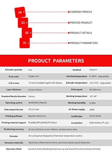 Hohe Präzision Gebaut 3D Drucker Metallrahmen Desktop 3D-Maschine, Unterstützung Multi-Filament FDM Professional 3D Drucker, maximale Druckgröße: 210 * 210 * 210mm (Rote) - 7