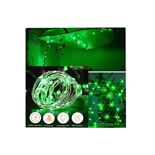 ODJOY-FAN 6 Stück 2m 20LED Dekoration Licht, Farbe Beleuchtung Zeichenfolge Batterie Sternenklar Kupfer Draht Dekor Lichter Dekorativ Licht String Lights (Grün,6 PC)
