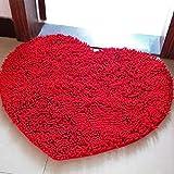 Hemore 45x60cm Microfibra ciniglia a Forma di Cuore Pad Tappeto Rosso Colorato Addobbi e Decorazioni per ricorrenze Decorazioni di Carnevale