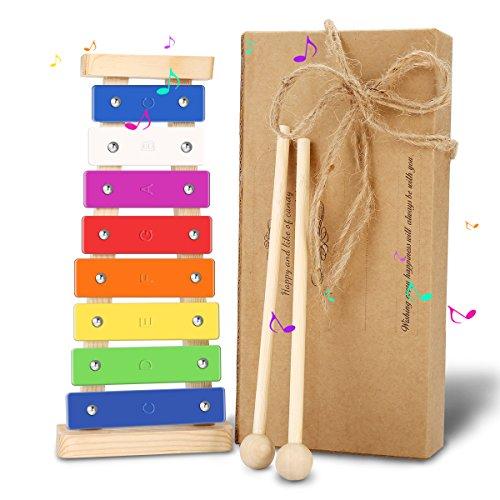 Holz Kinder Xylophon NASUM Kinder Musikinstrument Spielzeug Geschenke für Babys,Kinder und Kleinkinde mit hellen bunten Tasten, Kindersichere Holzschlägel und - Baby-spielzeug-musikinstrumente